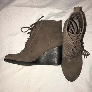 Brown High Wedge Booties